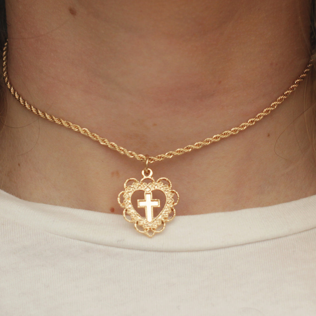Gold Heart Cross Necklace - Jenems