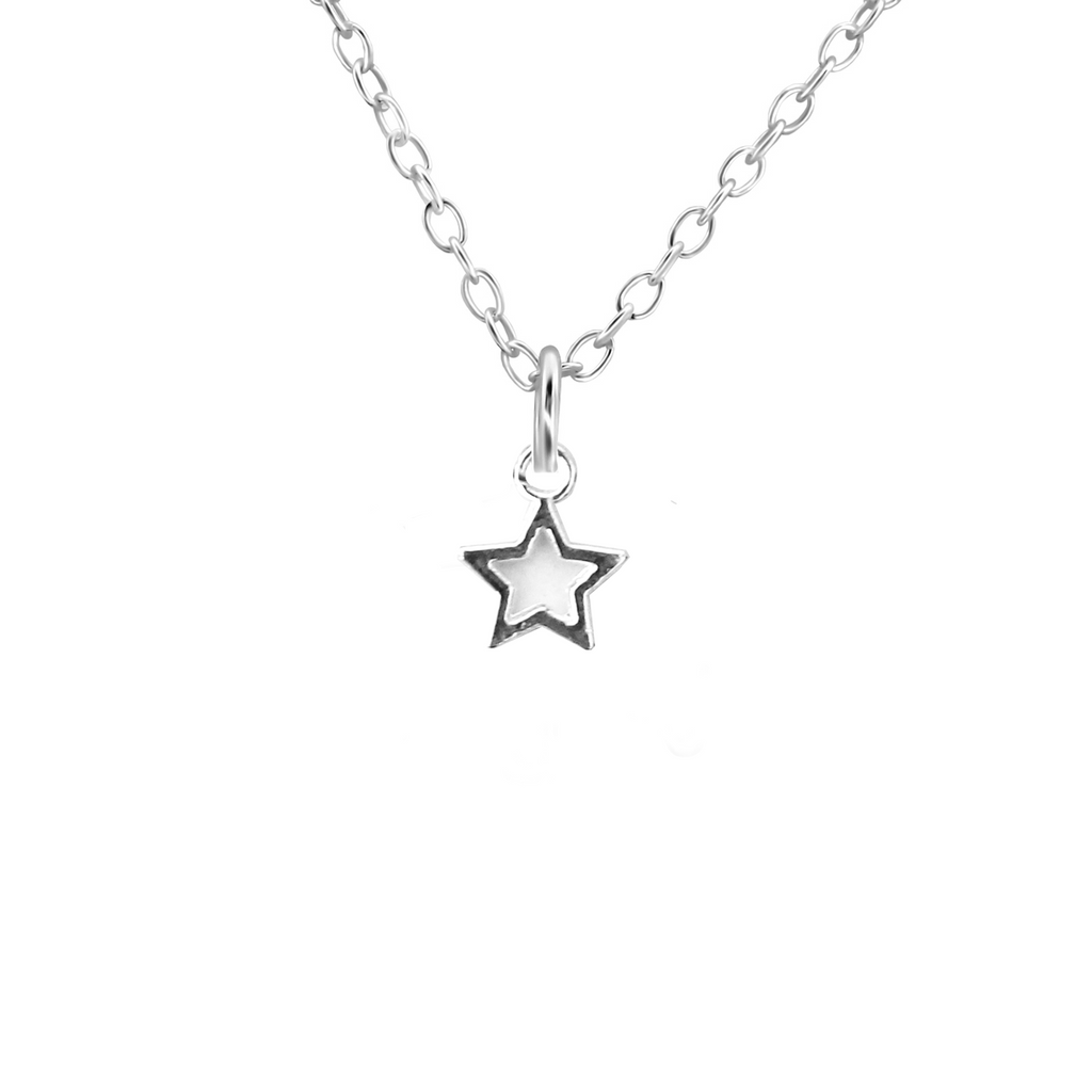 silver dainty star necklace - Jenems