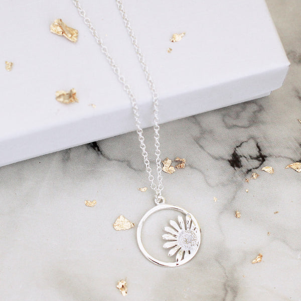 sunflower sterling silver necklace - Jenems