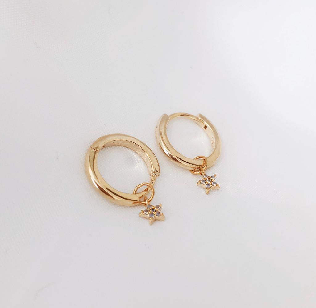 Star Crystal Drop Down Gold Hoop Huggie Earrings