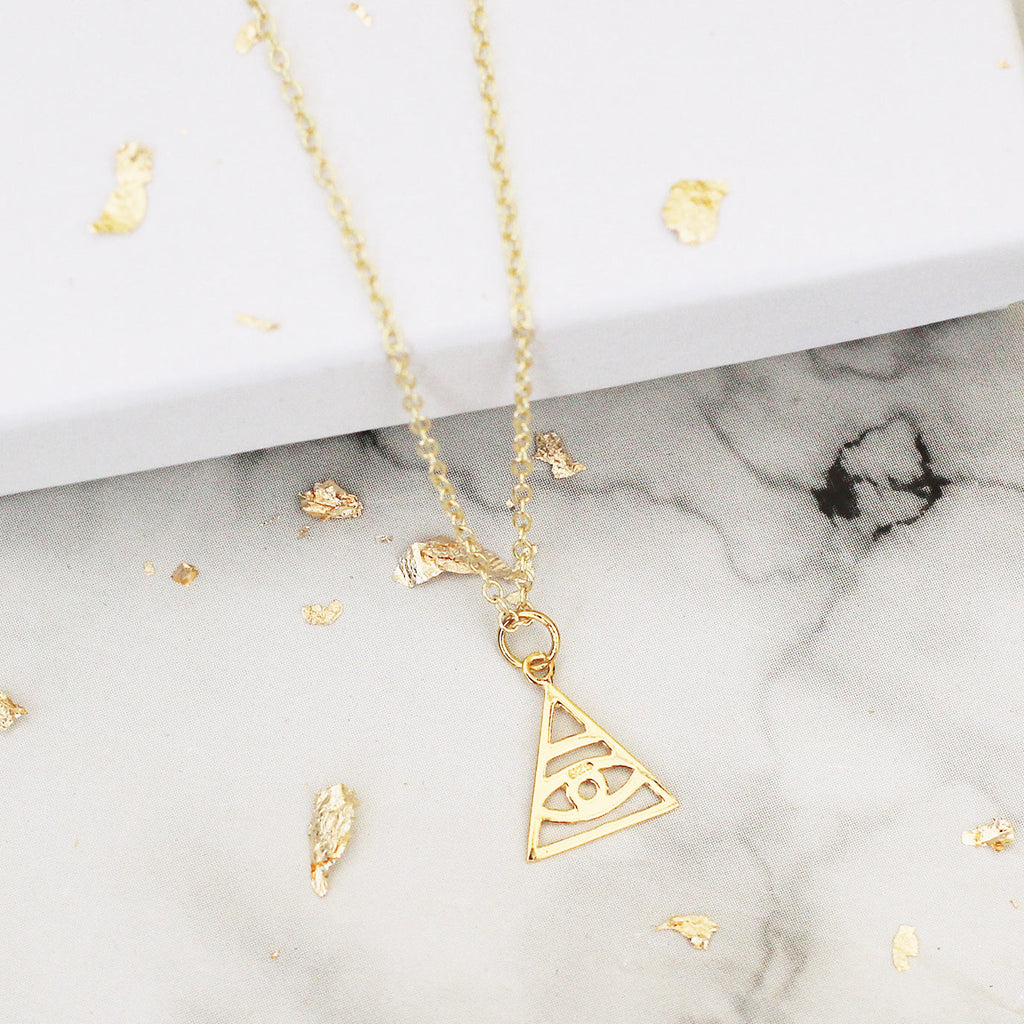gold vermeil evil eye triangle necklace - Jenems