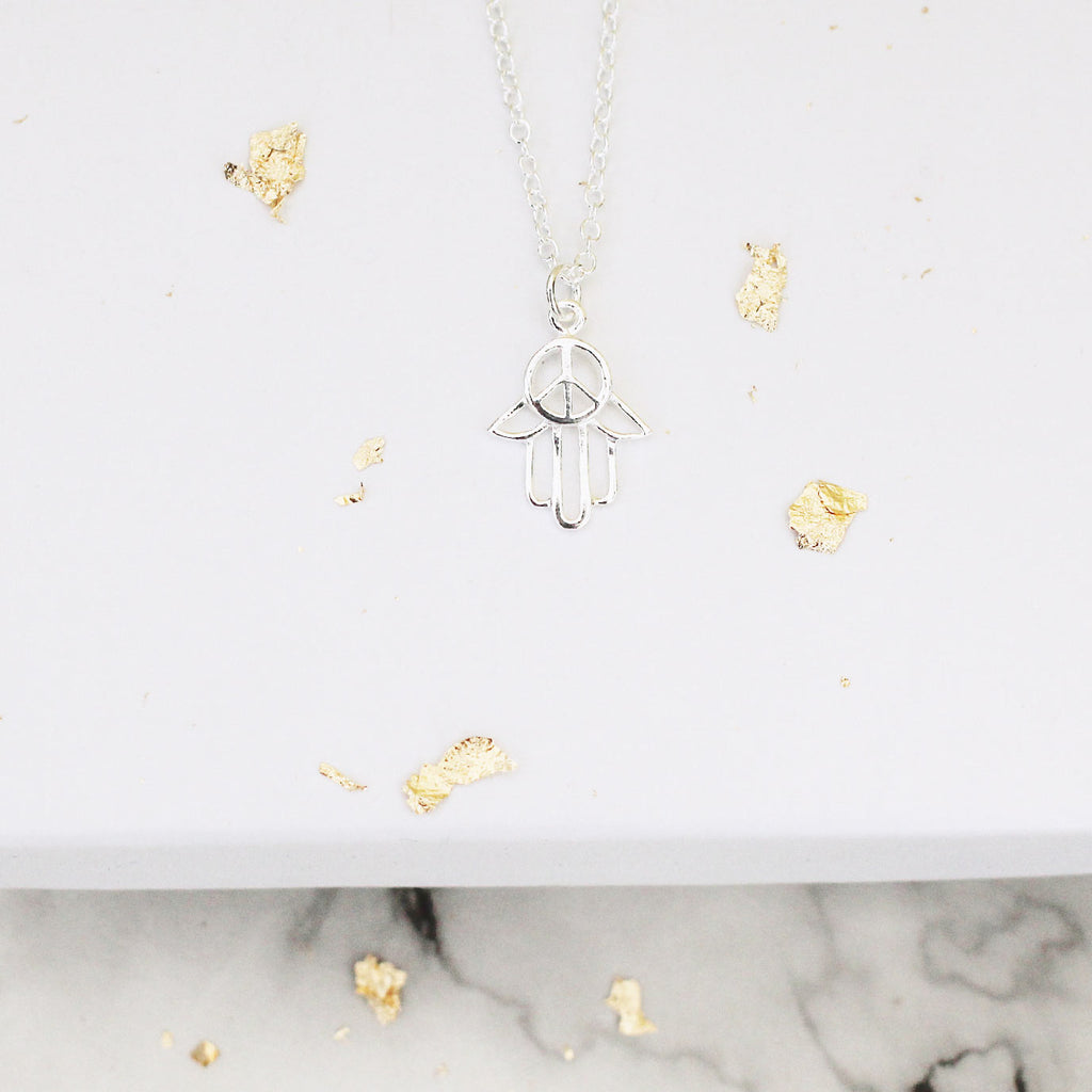 sterling silver hand of fatima necklace - Jenems