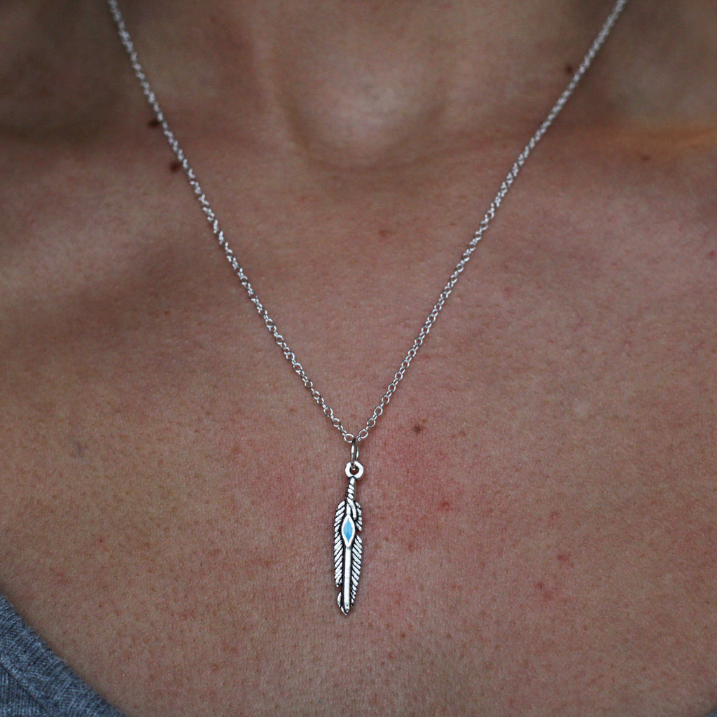 silver feather necklace - Jenems