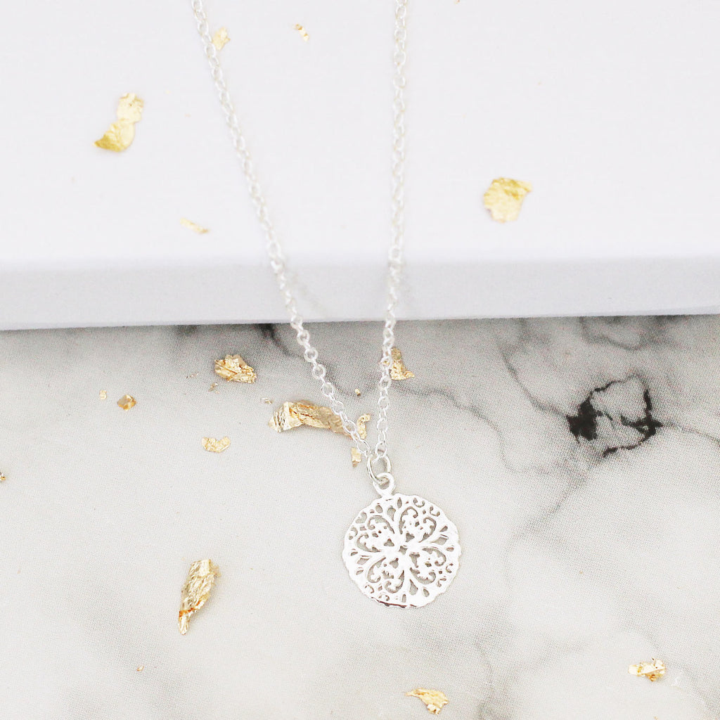 filigree flower sterling silver necklace - Jenems
