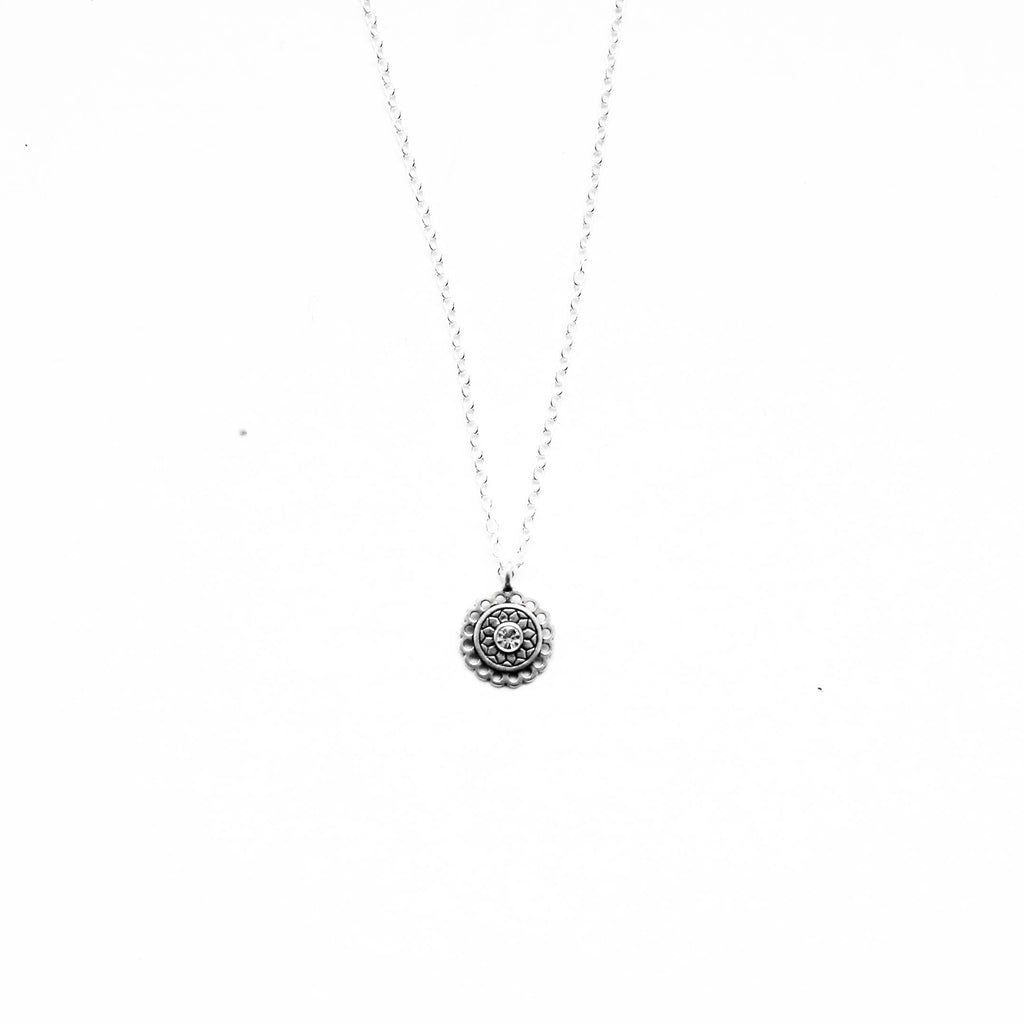 sterling silver round flower crystal necklace - Jenems