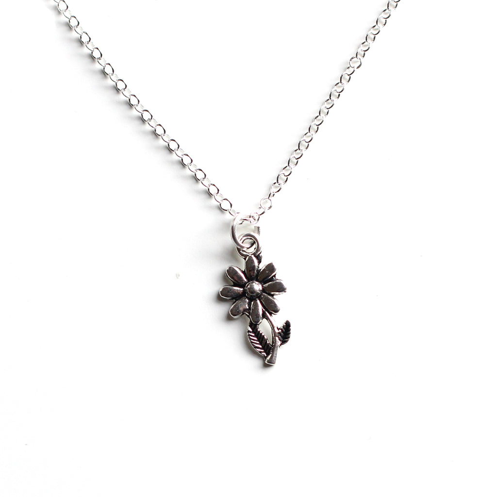 silver flower necklace - Jenems