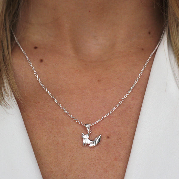 sterling silver origami fox necklace