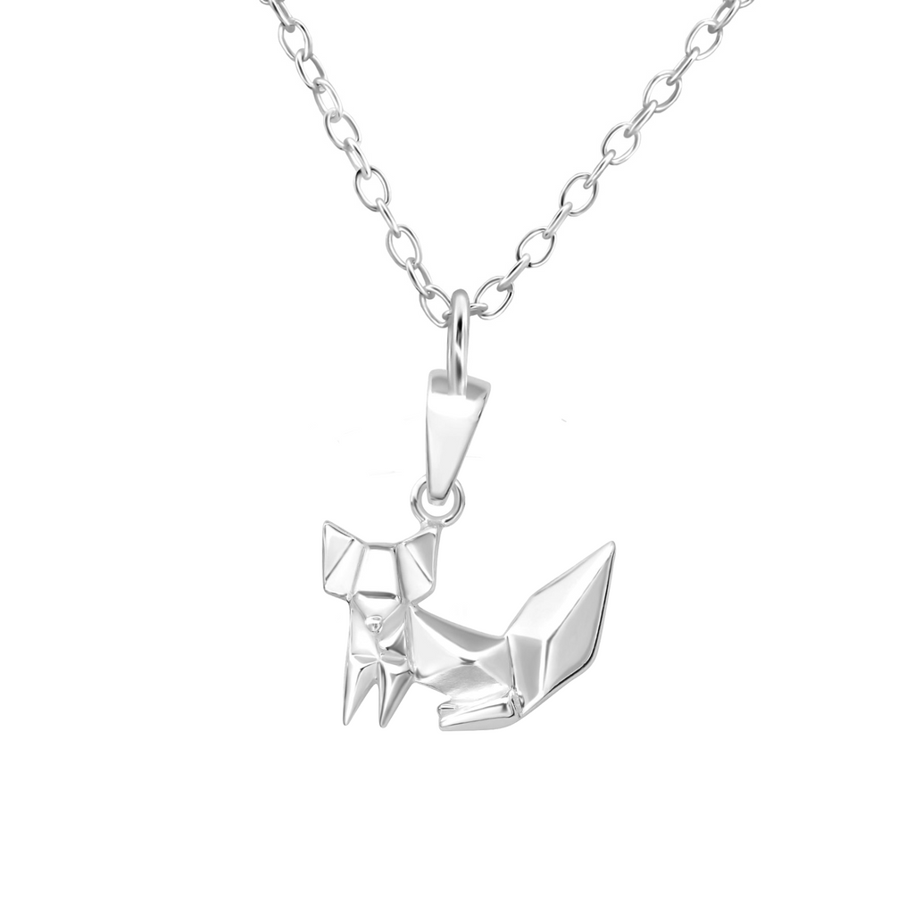 sterling silver origami fox necklace - Jenems
