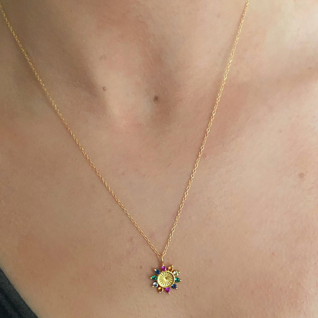 sterling silver gold plated flower gem necklace