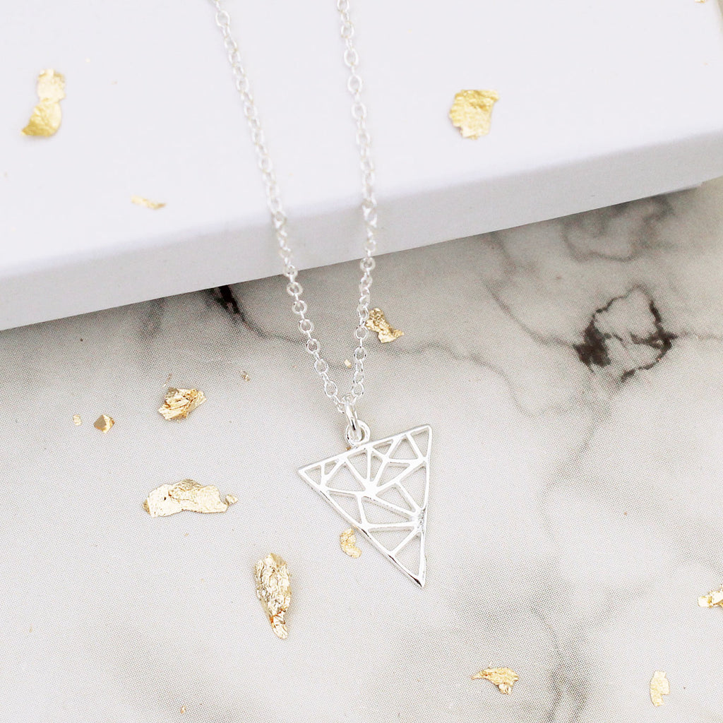 geometric triangle sterling silver necklace - Jenems