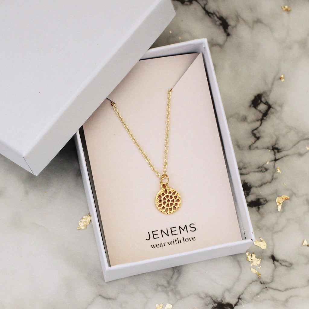 gold vermeil circle filigree disc necklace - Jenems