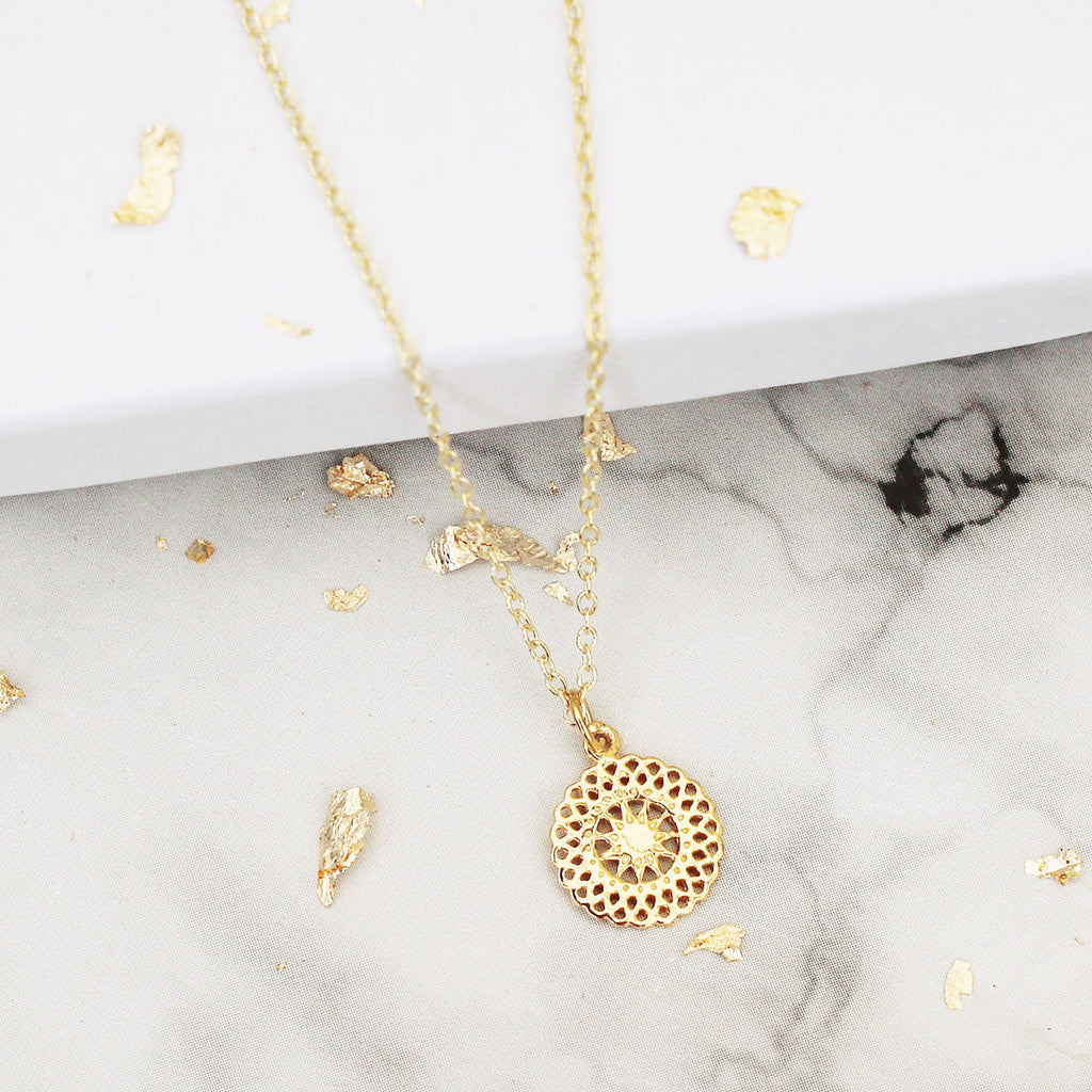 gold vermeil sun necklace - Jenems