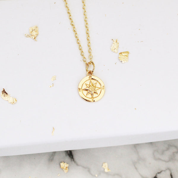 gold vermeil compass necklace - Jenems
