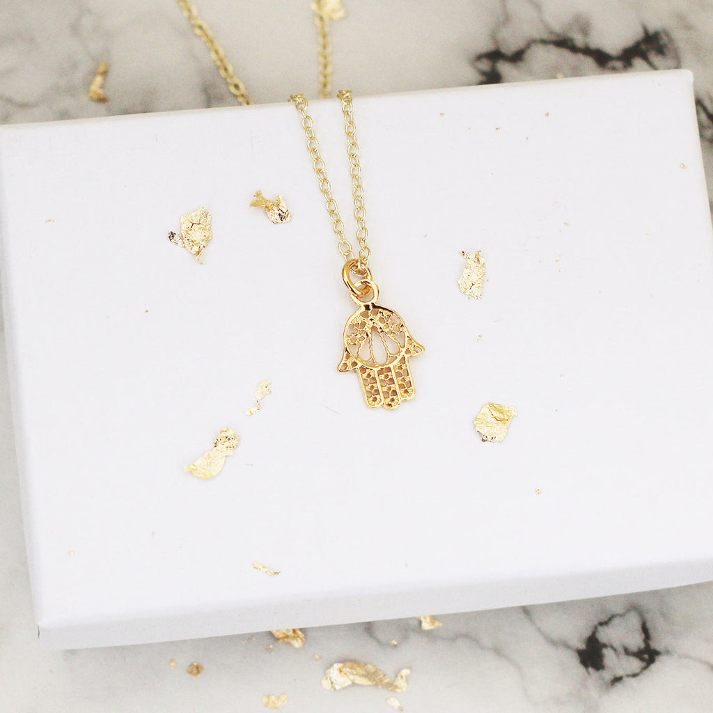 gold vermeil hamsa necklace - Jenems