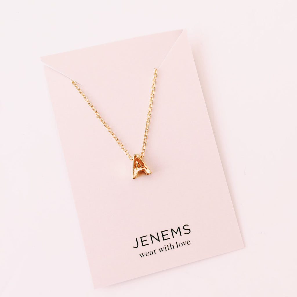 gold alphabet initial letter necklace - Jenems