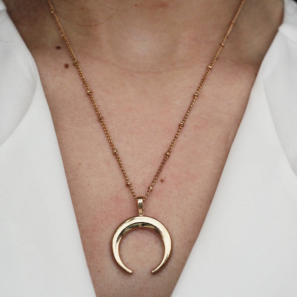gold horn moon beaded necklace - Jenems