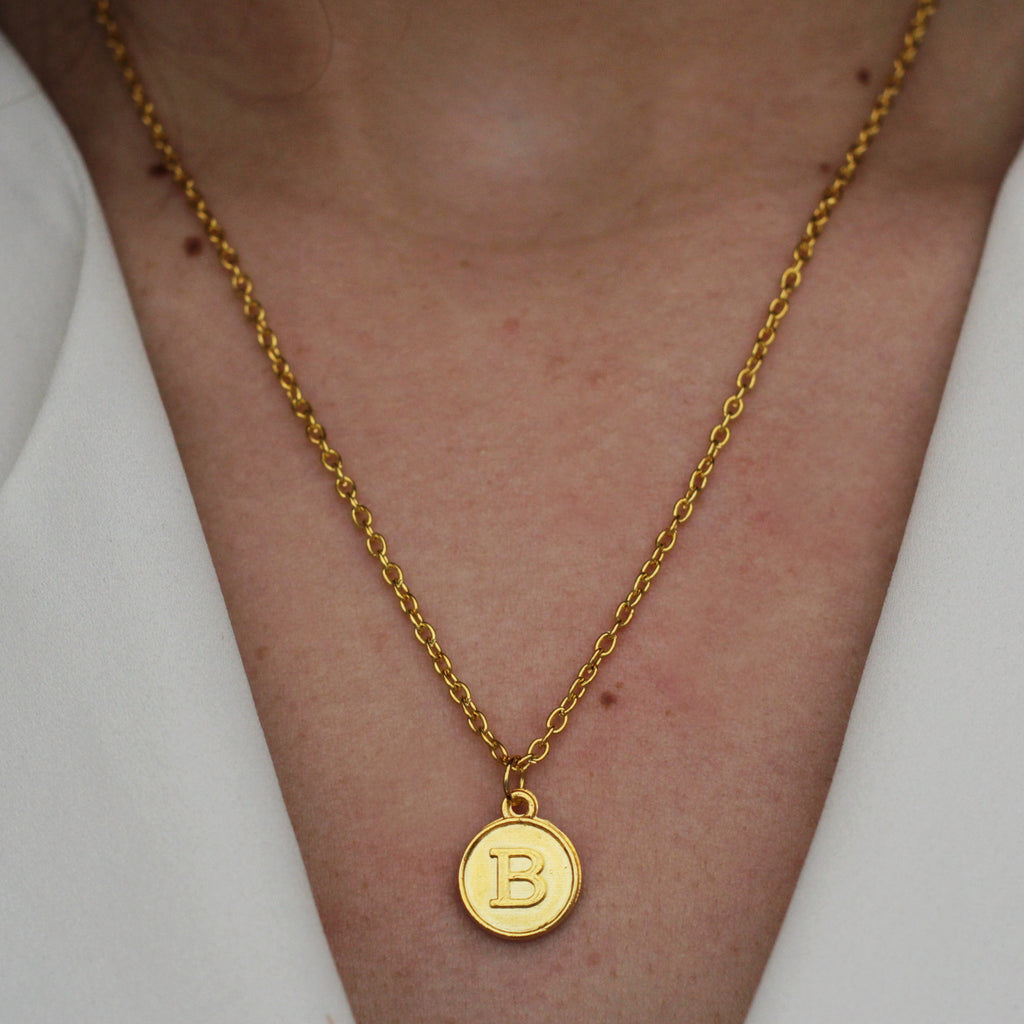 initial letter gold necklace - Jenems