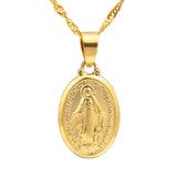 virgin mary pendant gold necklace - Jenems