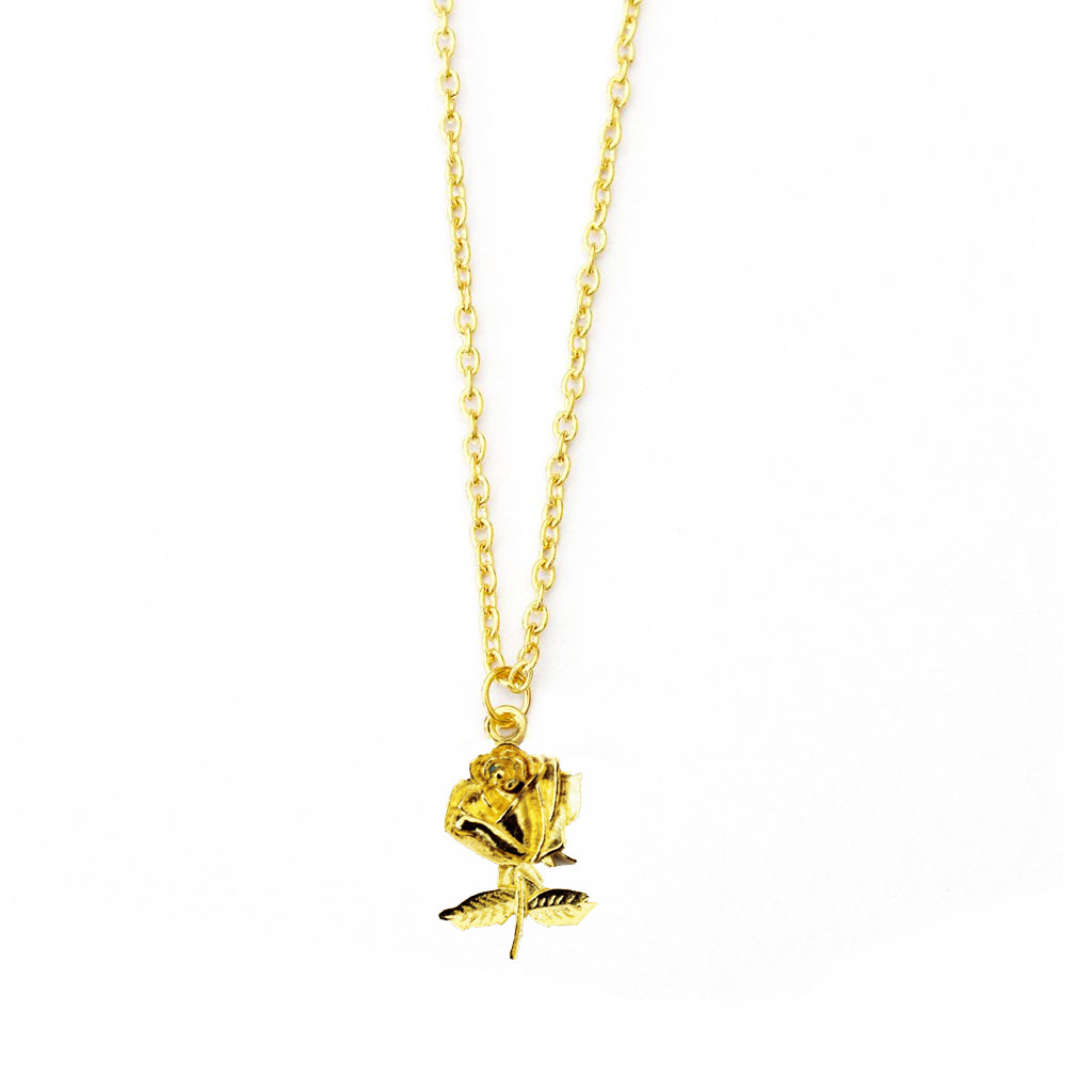 gold rose necklace - Jenems