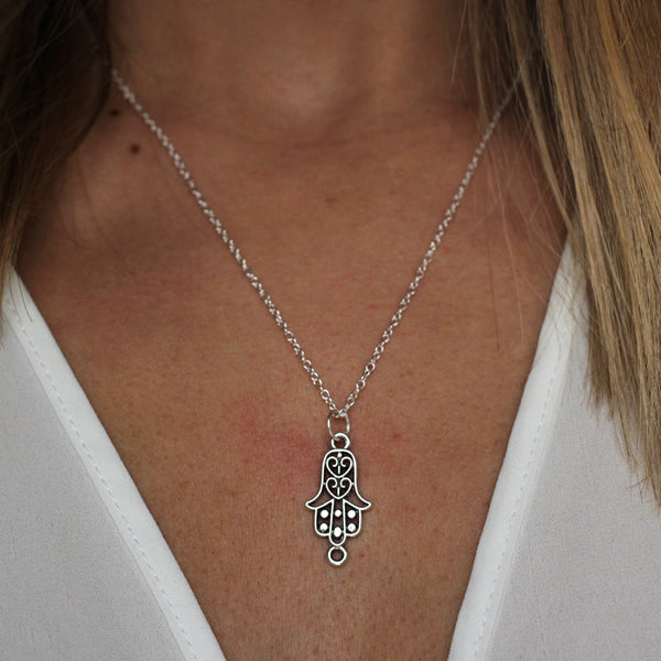 sterling silver hamsa hand necklace - Jenems