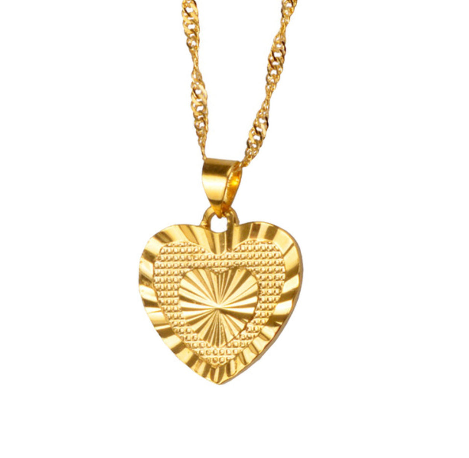 gold heart necklace - Jenems