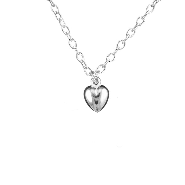 sterling silver puffed heart necklace - Jenems
