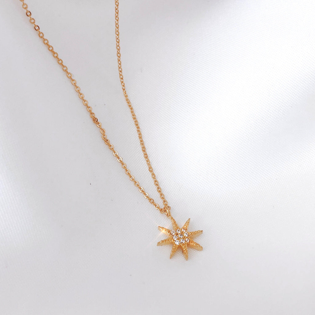 Crystal star 18ct gold plated necklace