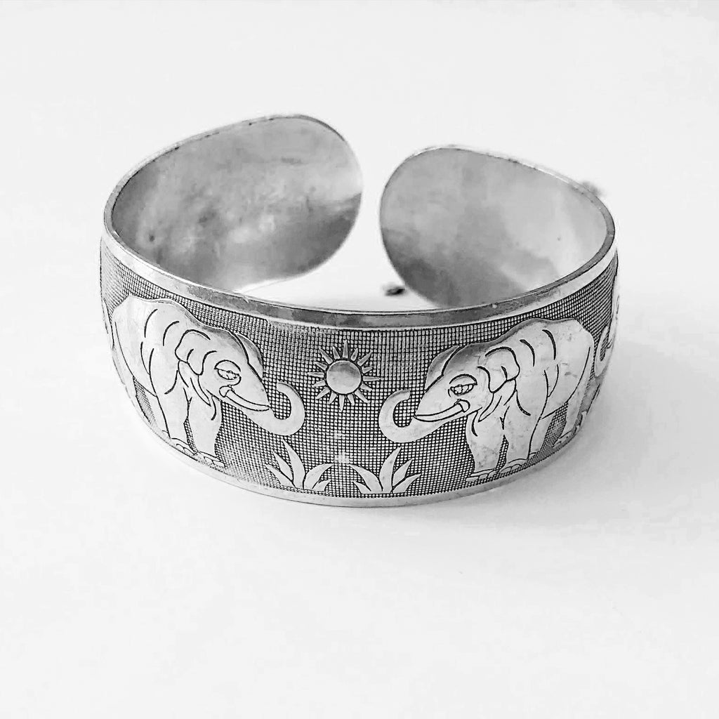 large engraved elephant bangle - Jenems