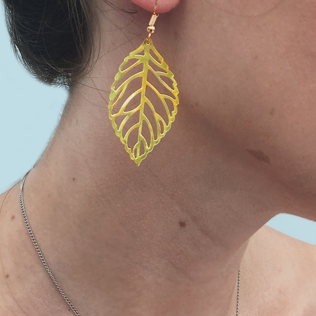 gold leaf statement earrings - Jenems