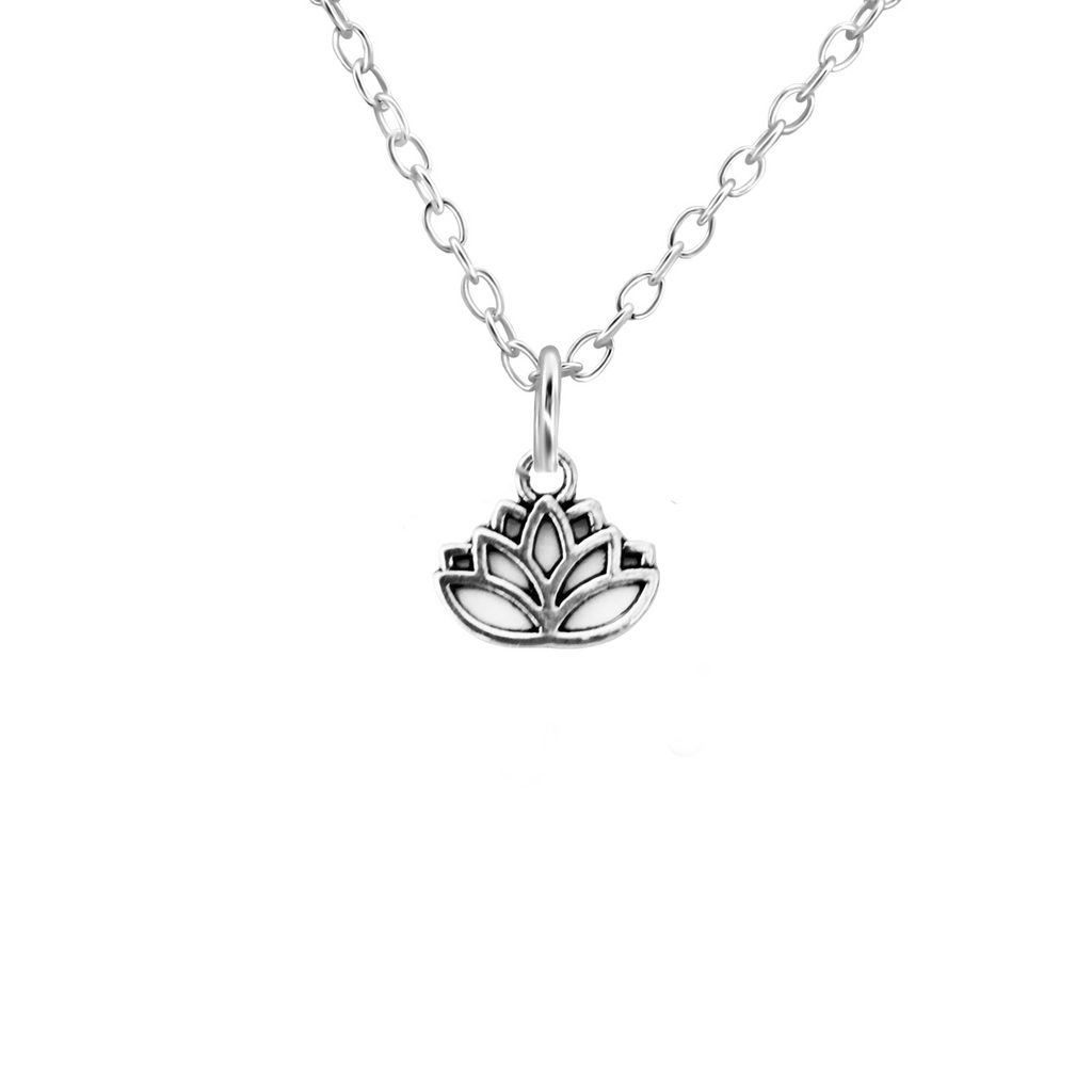 sterling silver lotus flower necklace - Jenems