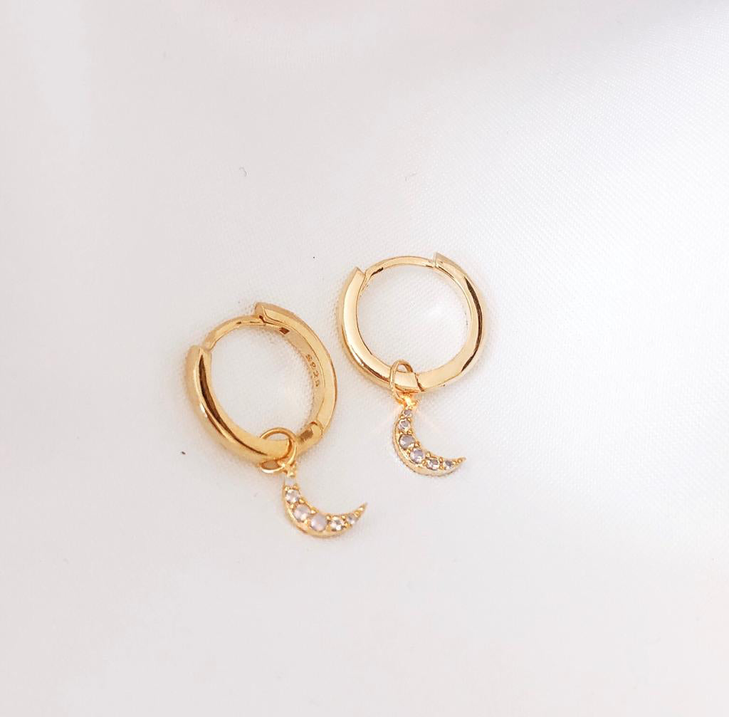 Gold Crystal Moon Gold Hoop Earrings