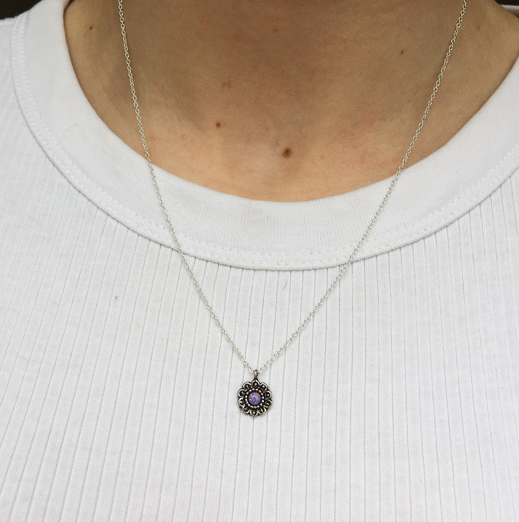 multi lavender flower sterling silver necklace - Jenems