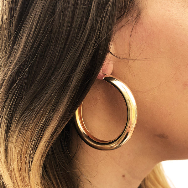 Gold Thick Hoop Earrings - Jenems