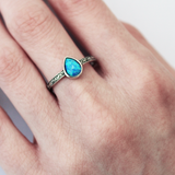 sterling silver opal teardrop ring