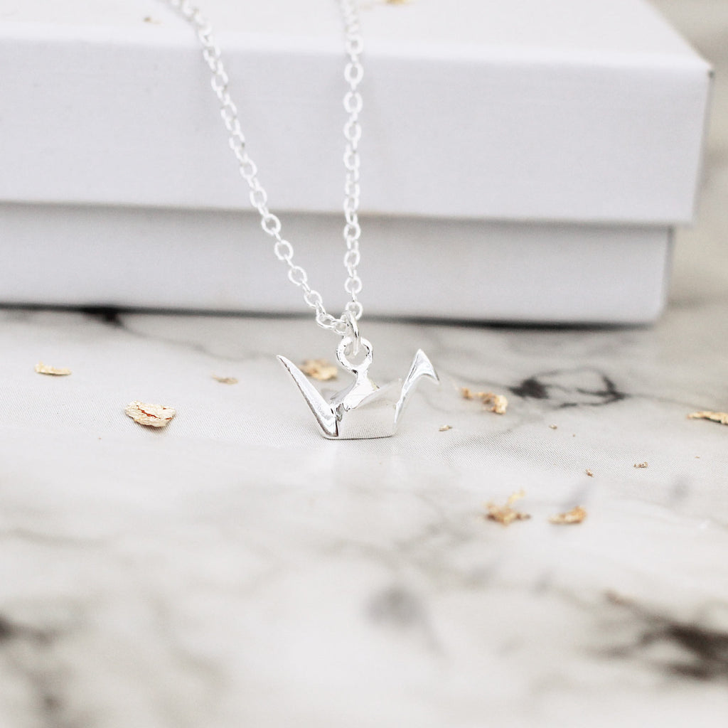 3D origami bird sterling silver necklace - Jenems