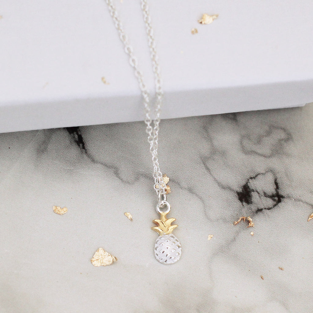 two tone pineapple sterling silver necklace - Jenems