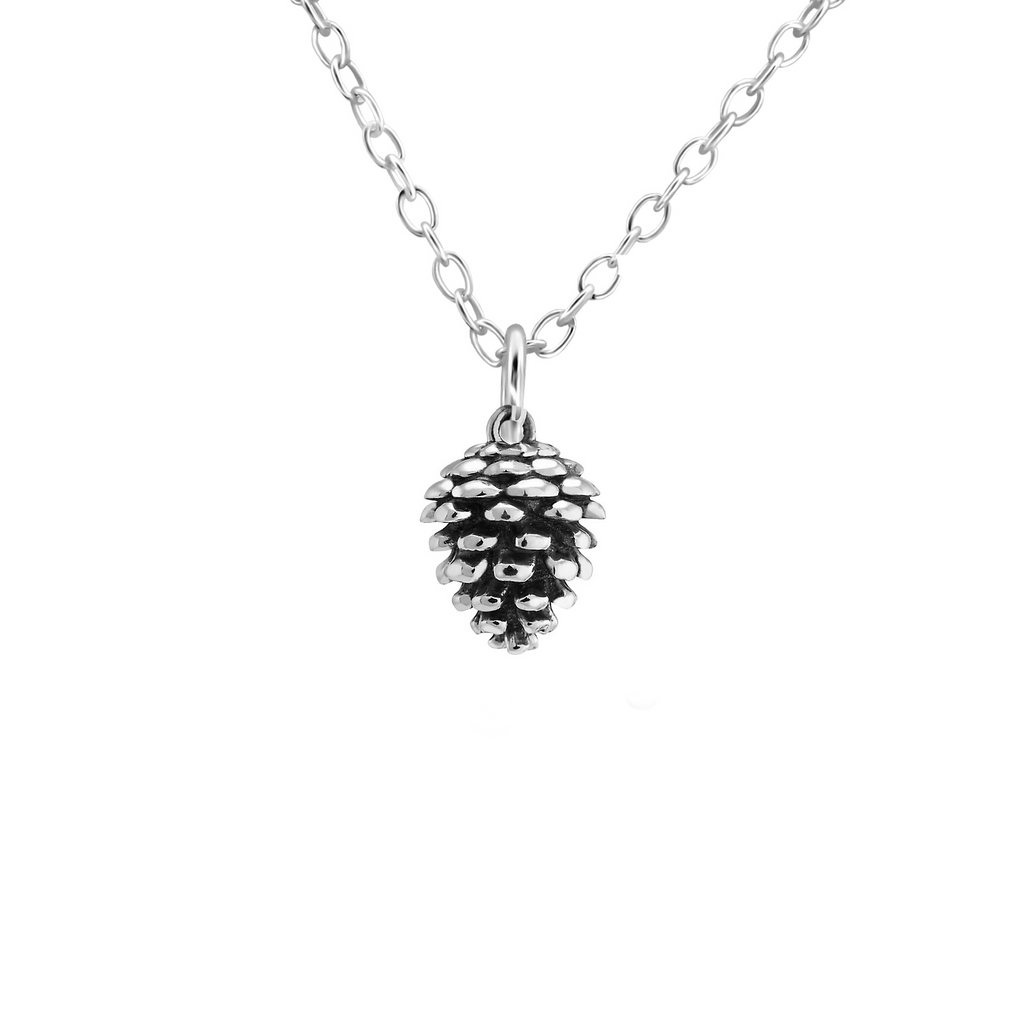 silver pine cone necklace - Jenems