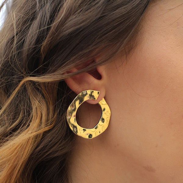 Gold Hoop Pressed Stud Earrings - Jenems