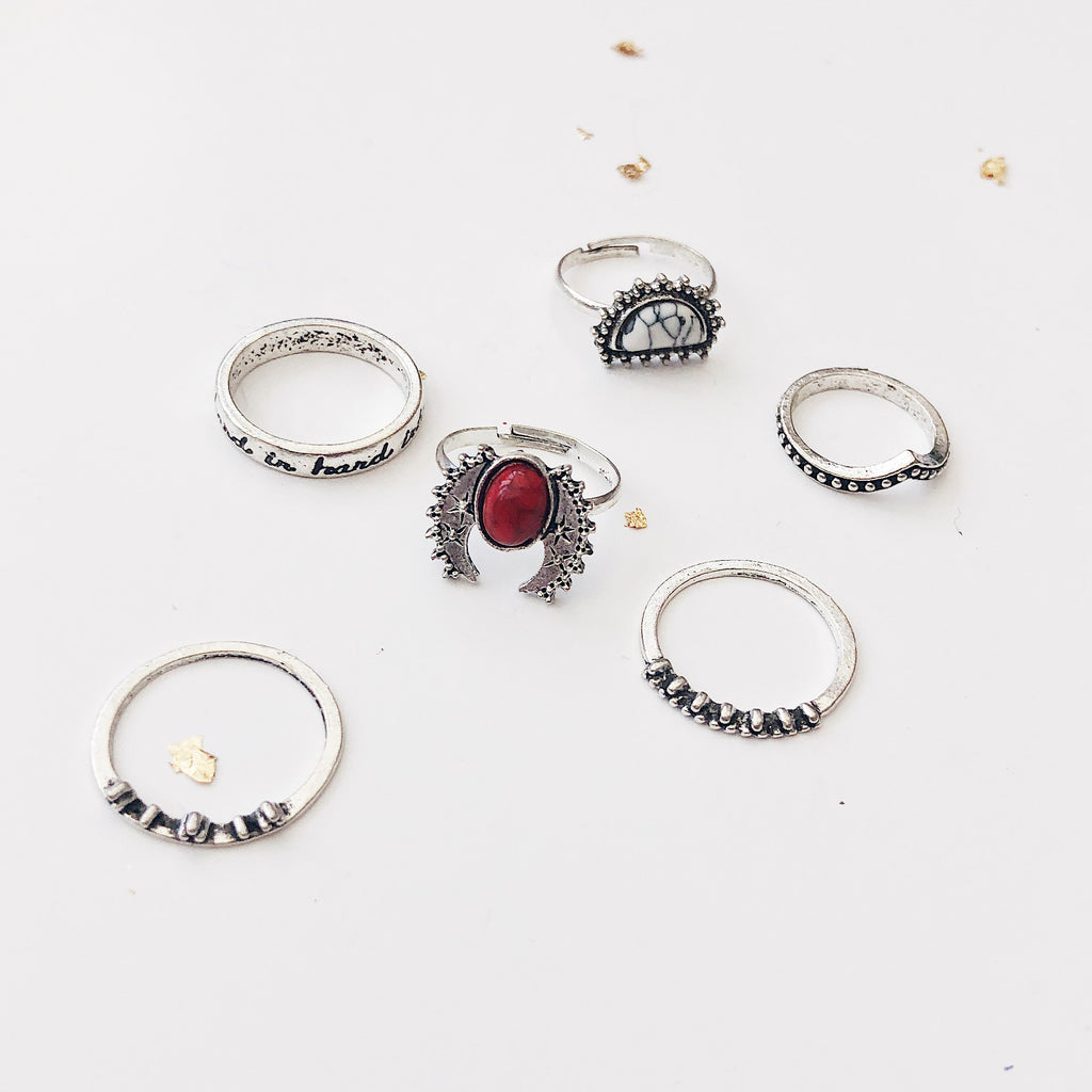 red stone ring set - Jenems