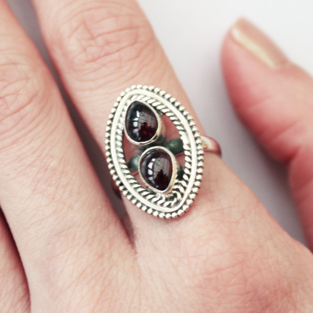 sterling silver shield red garnet crystal ring - Jenems
