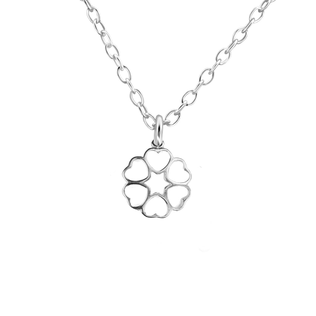 sterling silver ring of hearts necklace - Jenems