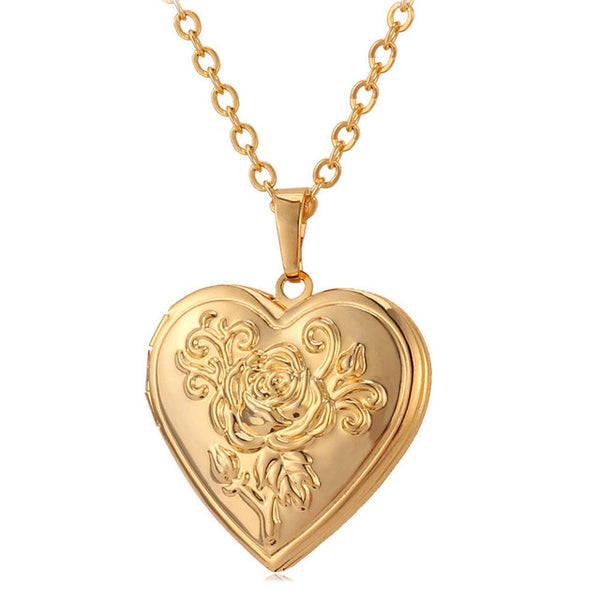 rose gold locket necklace - Jenems
