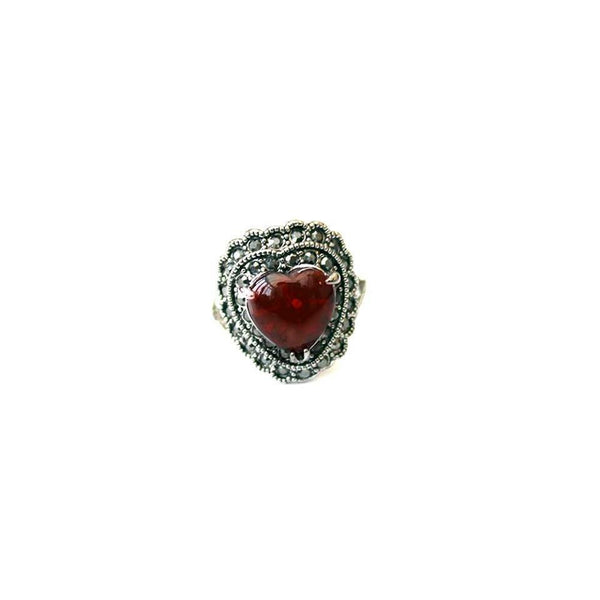ruby red jack of hearts ring - Jenems