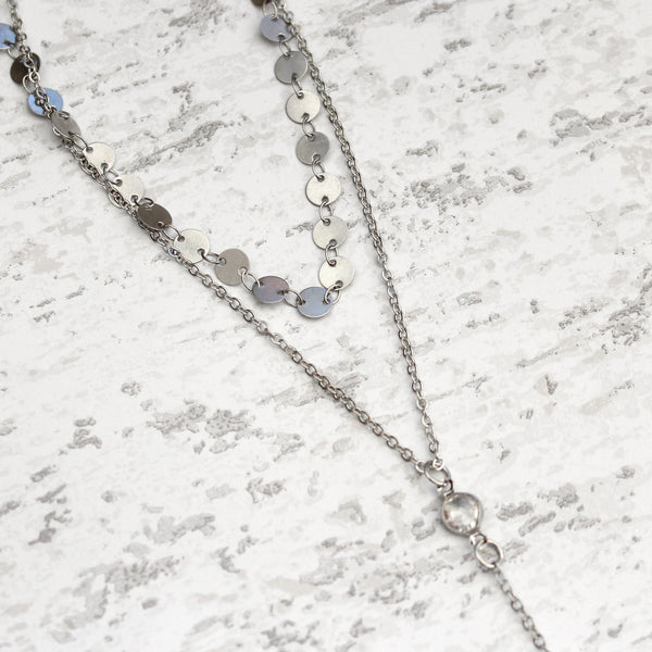 Silver boho Sequin Choker Necklace with long chain