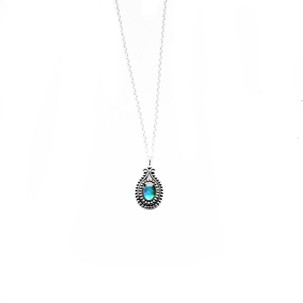 sterling silver abalone necklace - Jenems