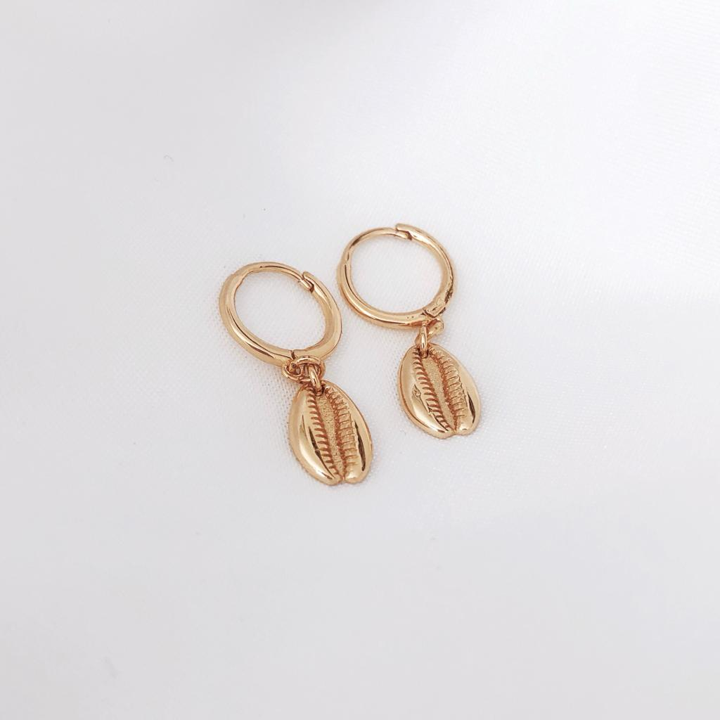Shell Gold Hoop Huggie Earrings