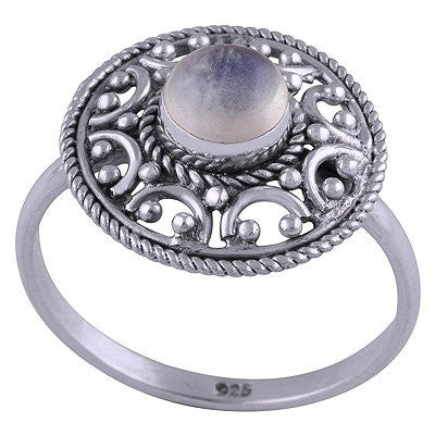 sterling silver rainbow moonstone crystal ring - Jenems