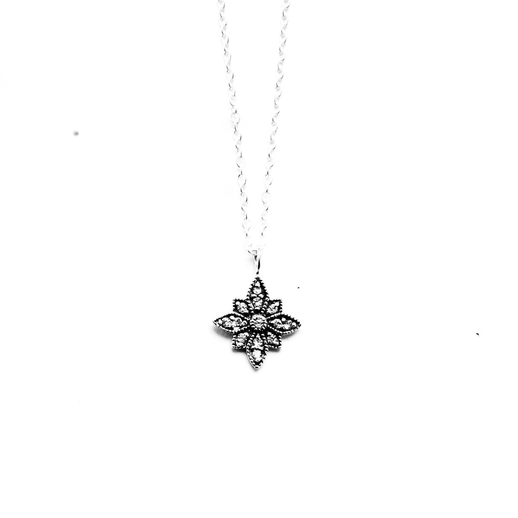sterling silver cubic zirconia crystal star necklace - Jenems