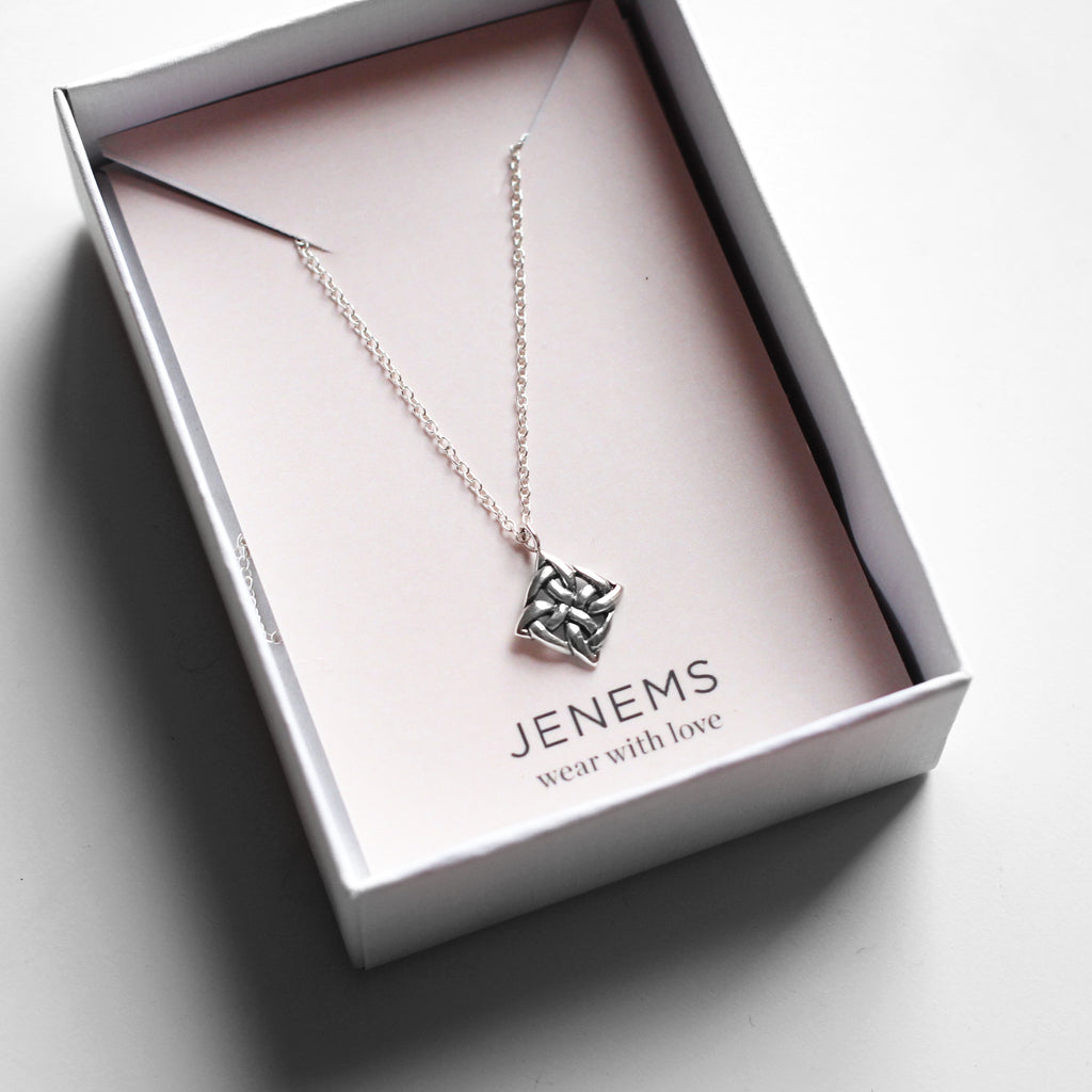 square celtic knot sterling silver necklace - Jenems
