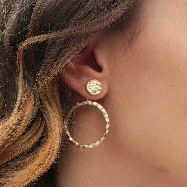 Gold Hammered Coin Hoop Earrings